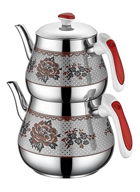 Özkent Kristal Orta Desenli Çaydanlık Kırmızı Kırmızı